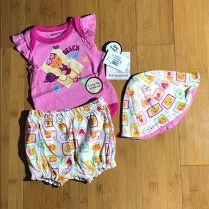 NWT Buster Brown Beach Baby 3-Piece Set pink 0-3M